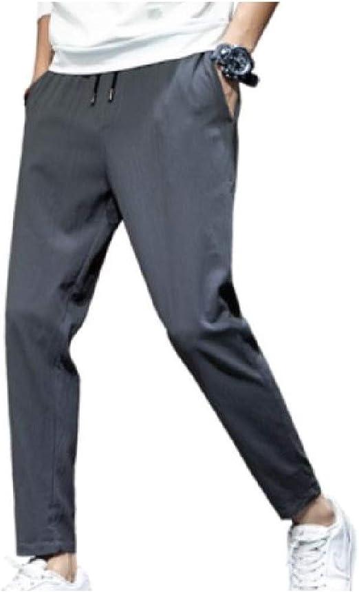 Romancly メンズトリムフィットファッション純粋な色カジュアルカジュアルパンツポケット付き