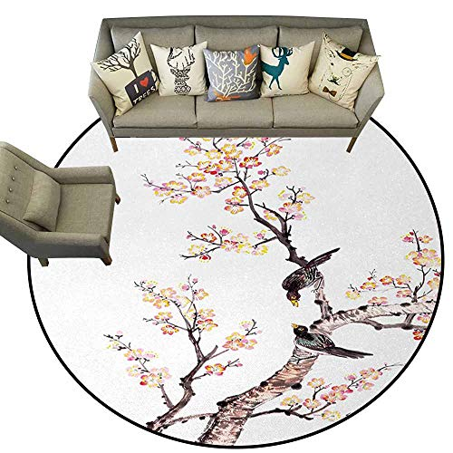 - Doormat Kitchen Bathroom,Art,Traditional Chinese Paint of Flowers Plum Blossom Birds on Tree Romance Print,Pale Yellow Brown,Machine Washable Round Area Rug Non-Slip Mats4.6 feet