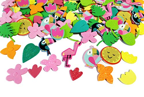 120 Piece Foam Tropical Peel and Stick Stickers- Flowers, Toucans, Leaves, Suns, and More!