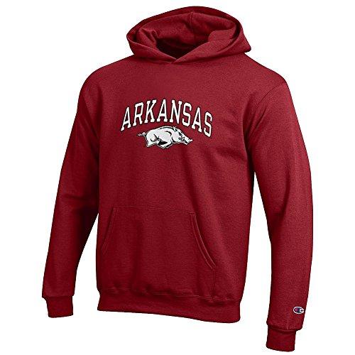 Elite Fan Shop Arkansas Razorbacks Kids Hooded Sweatshirt Arch Cardinal - M