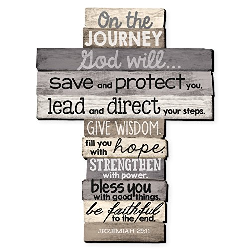 Lighthouse Christian Products Large Journey Stacked Wood Wall (Rustic Wall Cross)