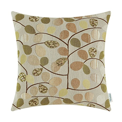 CaliTime Cushion Cover Throw Pillow Case Shell for Couch Sofa Home Decoration Luxury Chenille Cute Leaves Both Sides 18 X 18 Inches Ecru Taupe