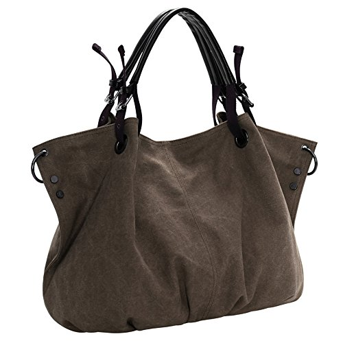 BYD - Mujeres School Bag Bolsos totes Bolsa de viaje Canvas Bag Carteras de mano Bolsos bandolera Shopping Bag with Multi Pockets Marrón