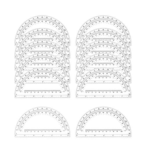 Math Protractors Plastic Protractor 180 Degrees, Clear, (12 Pack-6 Inches)
