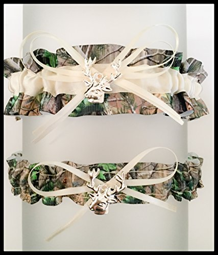 Realtree Camouflage Ivory Satin Wedding Keepsake Or Bridal Garter SET Pick Your (Camo Garter)