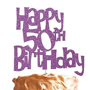 LissieLou Happy 50th Birthday Cake Topper Glitter Light Purple