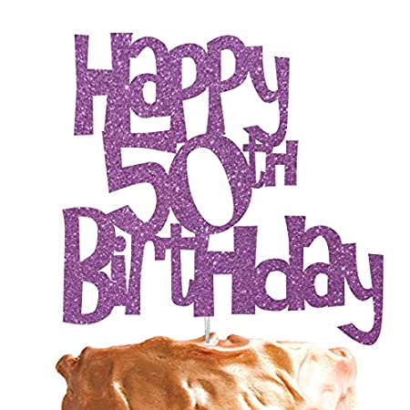 LissieLou Happy 50th Birthday Cake Topper Glitter Light Purple Amazoncouk Kitchen Home