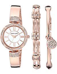Women's AK/3294RGST Swarovski Crystal Accented Rose Gold-Tone Bangle Watch and Bracelet Set