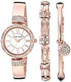Anne Klein Women's AK/3294RGST Swarovski Crystal Accented Rose Gold-Tone Bangle Watch and Bracelet