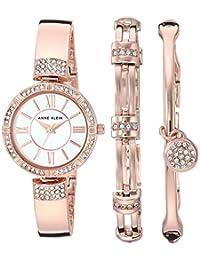 Anne Klein Women's AK/3294RGST Swarovski Crystal Accented Rose Gold-Tone Bangle Watch and Bracelet Set