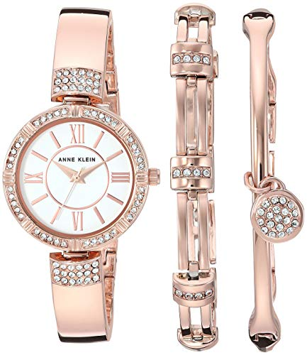 (Anne Klein Women's AK/3294RGST Swarovski Crystal Accented Rose Gold-Tone Bangle Watch and Bracelet Set)