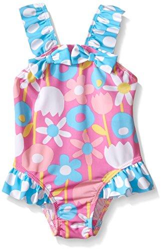 Flap Happy Baby UPF 50+ Malia V-Back Swimsuit , Petal Pops, 12 Months (Flap Happy Clothes)