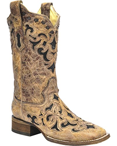 Corral Women's Stingray Inlay Cowgirl Boot Square Toe Brown 7.5 M US (Boots Cowgirl Stingray)