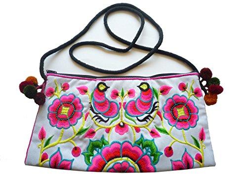 Ariyas Thaishop, kleine Damenhandtasche aus Baumwolle, handbestickt mit traditionellem Hmong Blumen und Vogel Muster