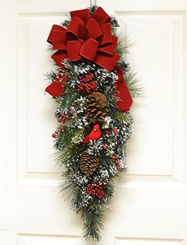 christmas wreath cardinal door swag with flocked snow cr4896