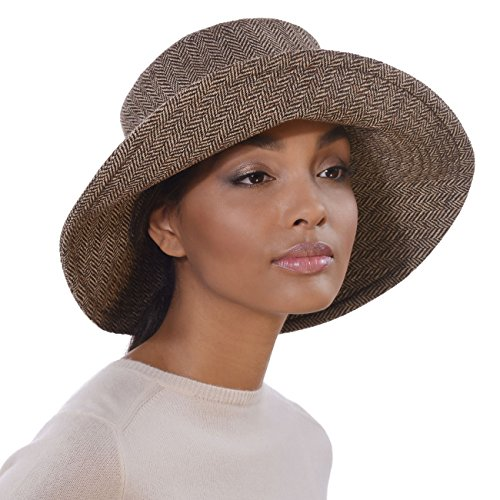 Eric Javits Designer Women's Luxury Headwear - Tweed Floppy Brown Mix by Eric Javits