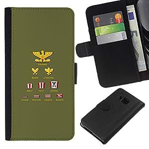 KLONGSHOP // Tirón de la caja Cartera de cuero con ranuras para tarjetas - Clasificación Lista de títulos coronel simple - HTC One M7 //