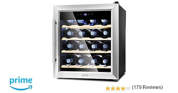 Cecotec Vinoteca de 16 Botellas Capacidad de 48L. Diseño Puerta ...