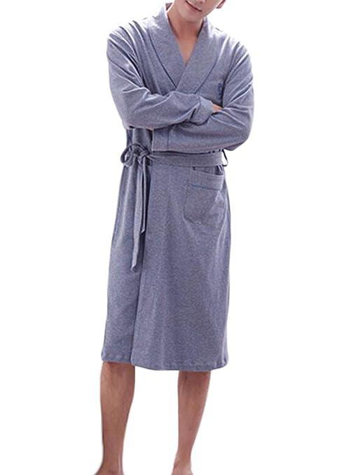 PFSYR Camisón de los Hombres, 100% algodón Cómodo y cálido Bata de baño mañana