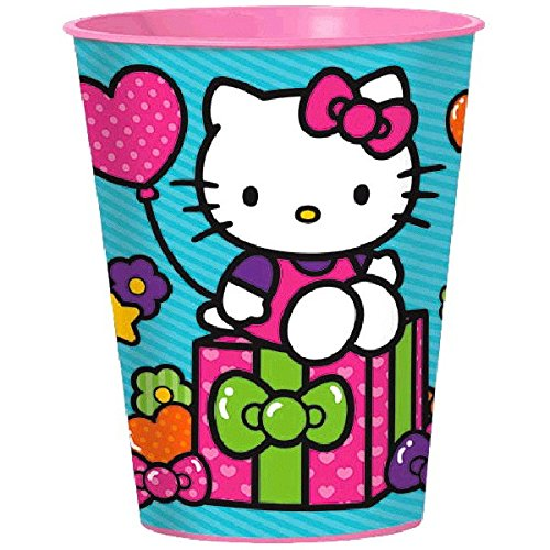 Adorable Hello Kitty Rainbow Plastic Cup Birthday Party Favour (1 Piece), Pink/Blue, 16 oz..