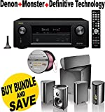 Denon AVRX2200W 7.2 Channel Full 4K Ultra HD A/V Receiver with Bluetooth and Wi-Fi + Definitive Technology ProCinema 600 5.1 Speaker System + Monster - Platinum XP Clear Jacket MKIII 50' Compact Speaker Cable - Clear/Copper Bundle