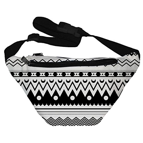 [Funny Guy Mugs Aztec Black and White Fanny Pack] (Indian Costume Ideas For Women)