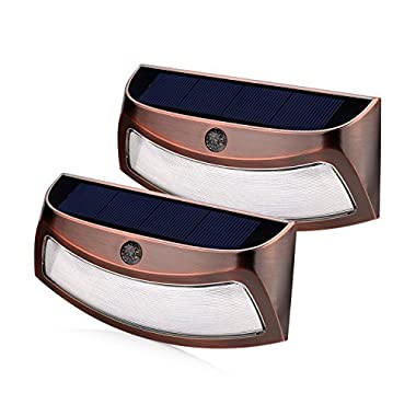 Solar Lights Outdoor, xtf2015 Copper Outdoor Step Lights, Wireless Waterproof LED Solar Lights for Stair, Patio, Yard, Fence, Walkways, Outside Wall - Auto On/Off(2 Pack, Warm White )