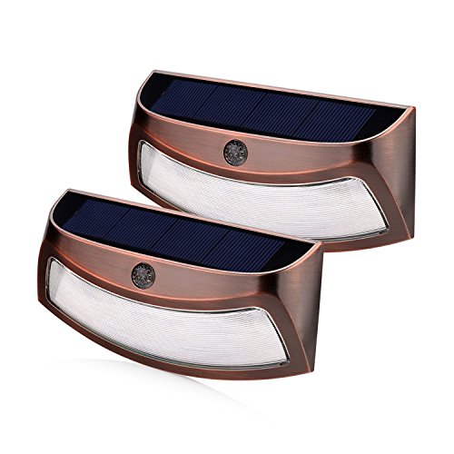 Permanent Patio Light - Solar Lights Outdoor, xtf2015 Copper Outdoor Step Lights, Wireless Waterproof LED Solar Lights for Stair, Patio, Yard, Fence, Walkways, Outside Wall - Auto On/Off(2 Pack, Warm White)