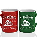 Be Burgundy - Our First Christmas 2017 & Names Couple Matching Coffee Mug Premium Engraving 10 oz. White Ceramic, Christmas Gift Hot Chocolate Mug - Laser Engraving - 7 Color - Valentine's Day Gift