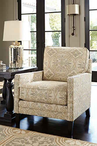 Ashley 2790121 Cloverfield Accent Chair with High Back Pillow Tapered Legs Fabric Upholstery Loose Seat Cushions and Reversible Cushions in Fawn