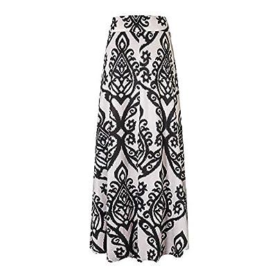 Vintage Coral Print High Waist Skater Skirt Womens Long Maxi Skirt