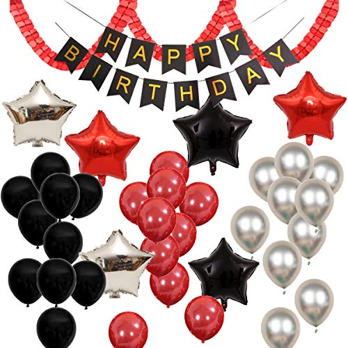 Black And Red Happy Birthday Banner (Red Black Silver 38pcs Balloons Pack for Mickey Minnie Mouse Boy Girl Birthday Baby Shower Party Decoration Supply - HAPPY BIRTHDAY Banner, 18