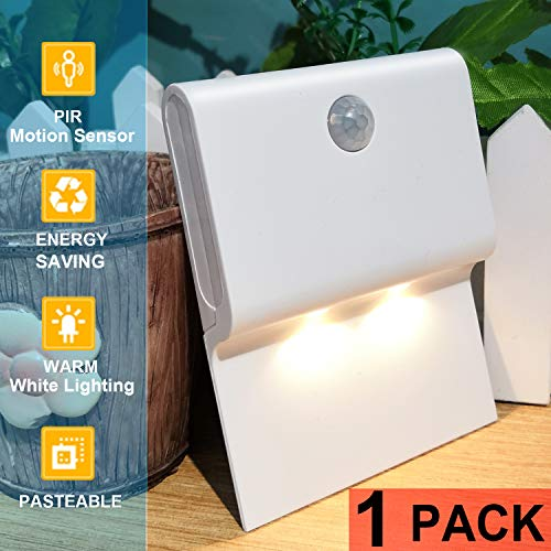 PHICOOL Stick-On Wireless Battery Powered Motion Sensor Night Light, Warm White LED, Wall Mounted or Stick Anywhere for Hallway, Stairway, Bathroom, Kitchen, Bedroom, Living Room, Closet.... (Pack 1)