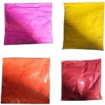 Diwali Rangoli Colors, 4 Colors for Making Rangoli, Colors, 50 Gram Packets (Colors Light Pink / Yellow / Orange / Red )