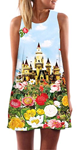 A Stylish Pattern3 Sleeveless Print Women Relaxed line Coolred Crewneck Dress Line Floral Sun A Oxq0BFwFY