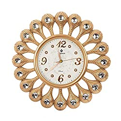 AHUA Vintage Retro Gold Flower Design Decorative Wall Clock, 17 Round Classic Clock, Digital Wall Clock, Silent Non-Ticking Quartz Decorative Battery Operated Wall Clock HD Glass Easy to Read