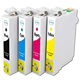 Aimple Replacement For Epson 124 Ink Cartridges T124120-BCS Combo Pack(Black,Cyan,Magenta,Yellow)Durabrite Ultra Compatible works with Stylus NX124/NX127/NX130/NX230/NX420/NX530/NX625 ;Workforce320/323/325/520 Printer