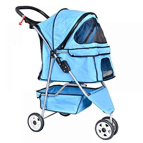 New Blue Pet Stroller Cat Dog Cage 3 Wheels Stroller Travel Folding Carrier T13 by BestPet
