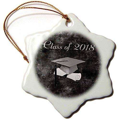 3dRose Beverly Turner Graduation Design - Gray Grad Cap on Diploma, Aged Graph Paper Look, Black, Class of 2018 - 3 inch Snowflake Porcelain Ornament (orn_262843_1) (Graduation Ornament Cap)