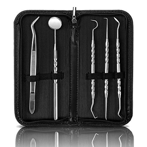 GiBot Dental Hygiene Kit, Dentist Tool Kit, Stainless Steel Tarter Scraper, Dental Pick Dental Scaler Dental Tweezers Anti-fog Mouth Mirror for Human and Pets, Non-rust