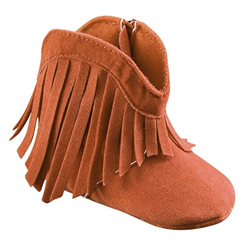 Weixinbuy Baby Girl's Tassel Soft Bottom Non-slip Cowboy Boots Toddler Shoes