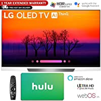 LG E8 OLED 4K HDR AI Smart TV 2018 Model with Hulu $100 Gift Card & 1 Year Extended Warranty (65 OLED65E8)