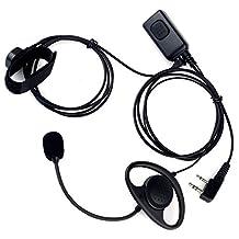 KENMAX D Shape 2 Pin Double PTT Finger PTT Ear Hook Stick MIC Earpiece Headphone for Walkie Talkie Two Way CB Ham Radio Baofeng UV-89 UV-5RAX+ BF-388A UV-A52 Kenwood TK-2400V4P UV-N98 TK3230K