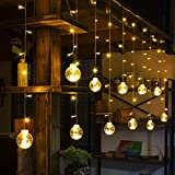 FriendShip Shop Chandelier- Warm Light LED Wishing Ball String Lights, Window Curtain Lights Decoration for Christmas, Wedding, Party, Home, Patio Lawn