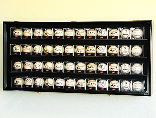 48 Baseball Cube Display Case Cabinet Wall Rack w/98% UV Pro