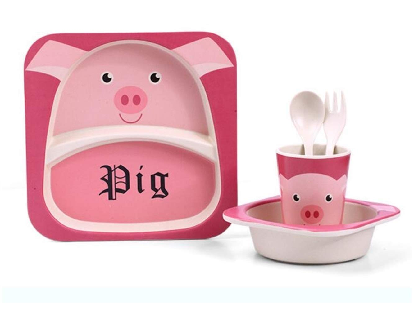 Yuchoi Contemporary Bamboo Fiber Cartoon Animal Dish Children Plate Fork Spoon Cup Set for Kids(Pig)