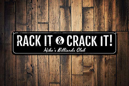 qidushop Rack it & Crack Sign Personalizzato Nome Biliardo Club Sign Metal Sign Man Cave Custom Pool Game Decor novità Aluminum Metal Tin Sign Post Decorazione da Parete per Gli Uomini