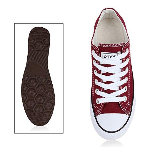 Zapatillas planas, unisex, deportivas Dunkelrot Bianco