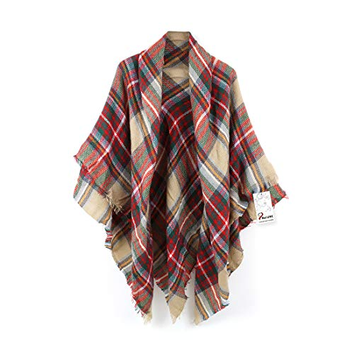 (Women's Cozy Tartan Scarf Wrap Shawl Neck Stole Warm Plaid Checked Pashmina)