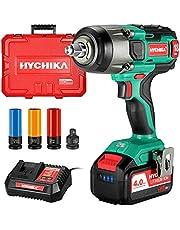Hychika Accu-slagschroevendraaier, 350 N·m slagmoersleutel met 4,0 Ah 18 V batterij, 3000 IPM slagfrequentie, 3 stuks bussen voor 17/19/21 mm, adapter voor 10 mm doorn en opbergdoos voor wielbouten